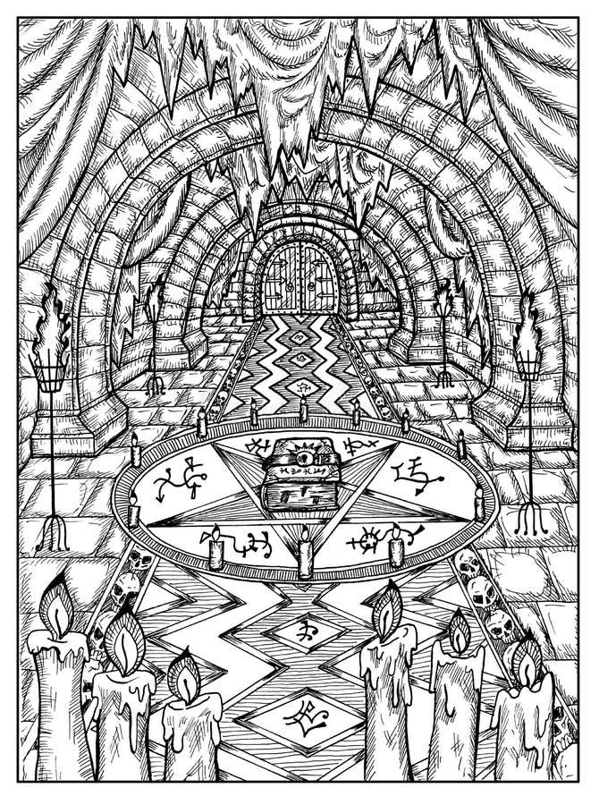 Ritual con el libro Concepto místico blanco y negro para la carta de tarot del oráculo de Lenormand libre illustration