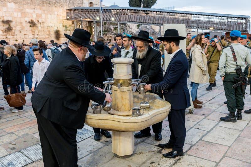 Ritual hand wash in jerusalem royalty free stock image