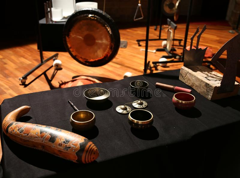Ritual instruments. Sound sources through vibration and sound reverberation royalty free stock photography