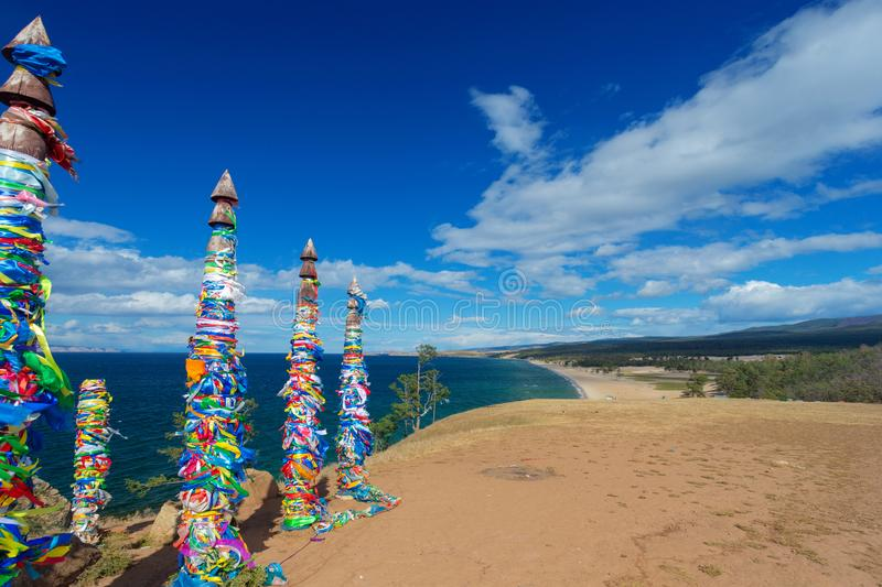 Ritual shaman pillars on Olkhon island, Russia stock photos
