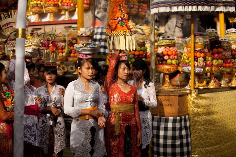 Rituale di Melasti sull'isola del Bali fotografie stock libere da diritti