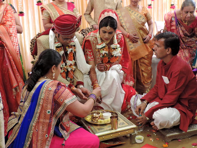 Rituals of traditional Hindu wedding, India. A Hindu wedding is called Vivaha in North India and Kalyanam in South India. The ceremonies are very colourful, and royalty free stock image