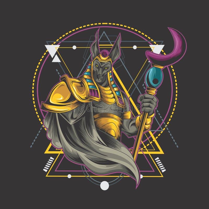 Rituel d'Anubis sur la géométrie illustration stock
