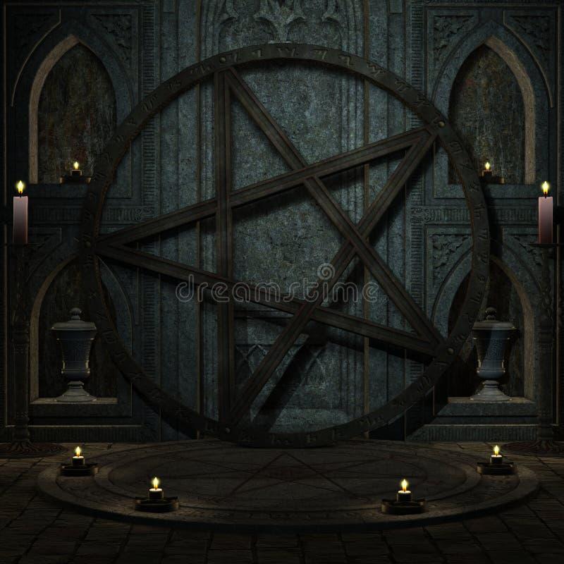Rituele ruimte met Pentagram vector illustratie