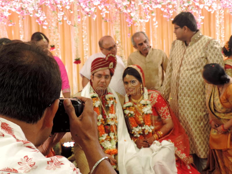 Rituels du mariage indou traditionnel, Inde photo stock