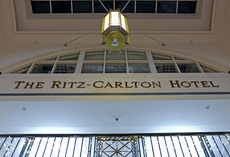 The Ritz-Carlton Hotel in downtown Cleveland, Ohio, USA. The Ritz-Carlton Hotel, an upscale brand hotel, in downtown Cleveland, Ohio, USA is connected to the stock images