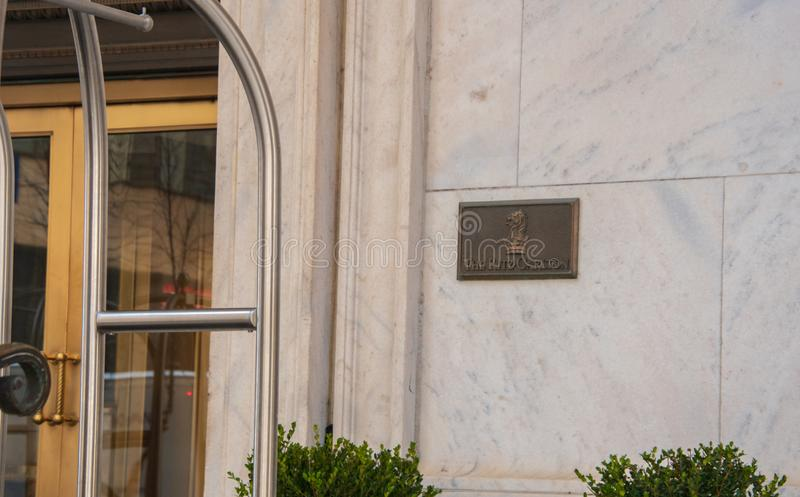 Ritz Carlton name plaque stock image