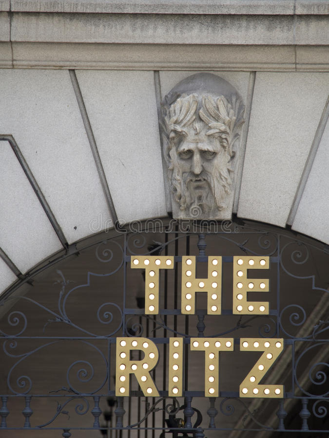 The Ritz Hotel sign, London stock photo