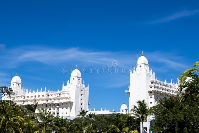 Riu Hotel, Island Aruba. White palatial Riu Hotel in tourist paradise Aruba.Aruba, Island in the Caribbean Sea, Lesser Antilles, constituent country of the royalty free stock images