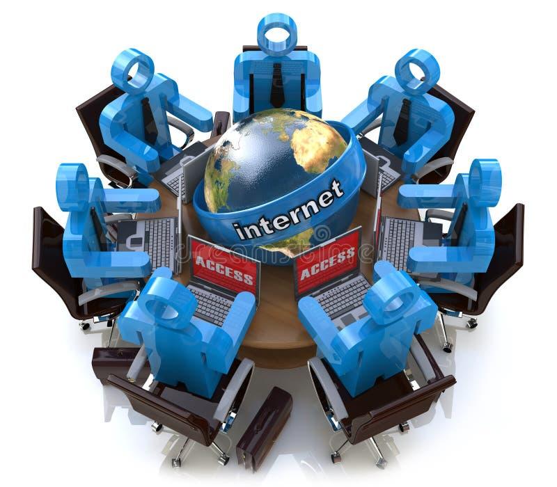 Riunione d'affari - accesso Internet Concetto online del collegamento illustrazione di stock
