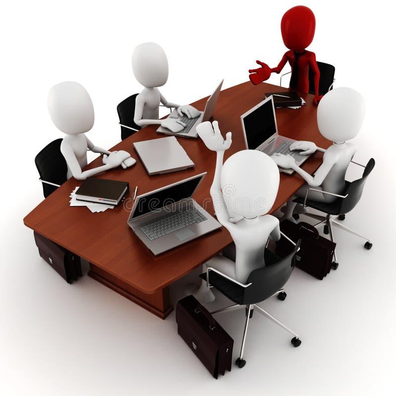 riunione d'affari dell'uomo 3d - sul bianco illustrazione vettoriale