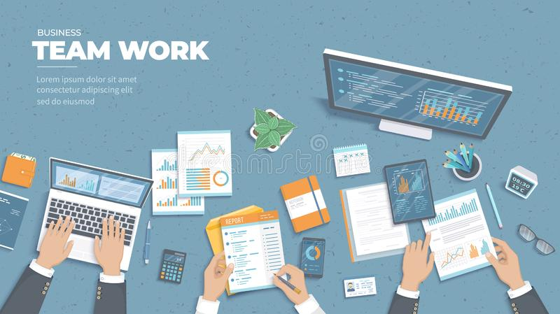 Riunione d'affari e 'brainstorming' Concetto del lavoro di gruppo dell'ufficio Analisi, pianificazione, consultantesi, gestione d royalty illustrazione gratis