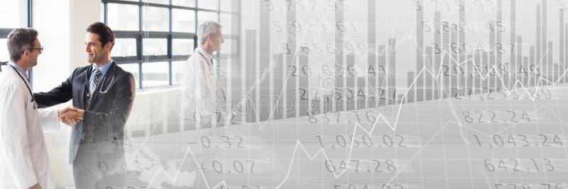 Riunione d'affari medica con la transizione grigia del grafico di finanza immagine stock libera da diritti