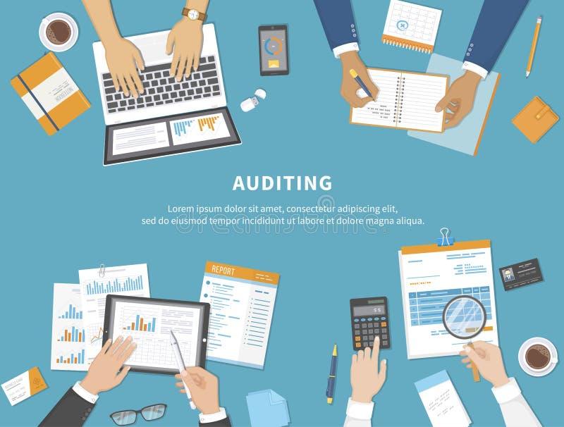 Riunione d'affari, verifica, calcolo, analisi dei dati, segnalazione, contabilità La gente sul lavoro Mani umane su una tavola co illustrazione vettoriale