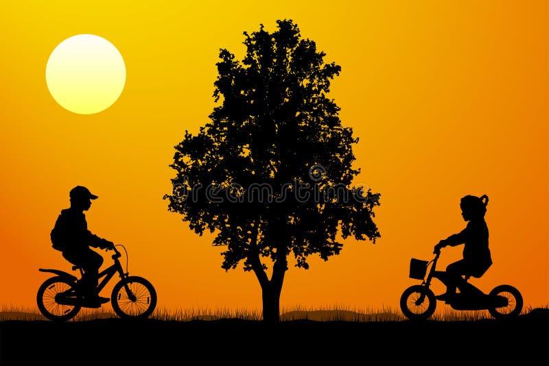 Riunione dei bambini sulle biciclette vicino ad un albero al tramonto, vettore della siluetta illustrazione di stock
