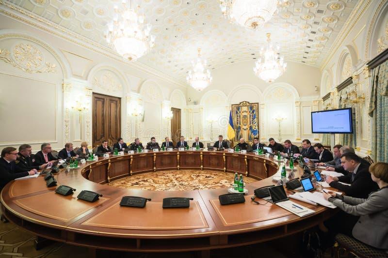 Riunione del Consiglio di difesa e di sicurezza nazionale a Kiev immagini stock