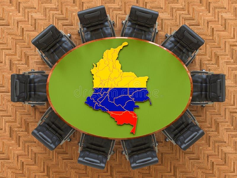 Riunione del governo colombiano Mappa della Columbia sulla tavola rotonda, rendering 3D illustrazione di stock