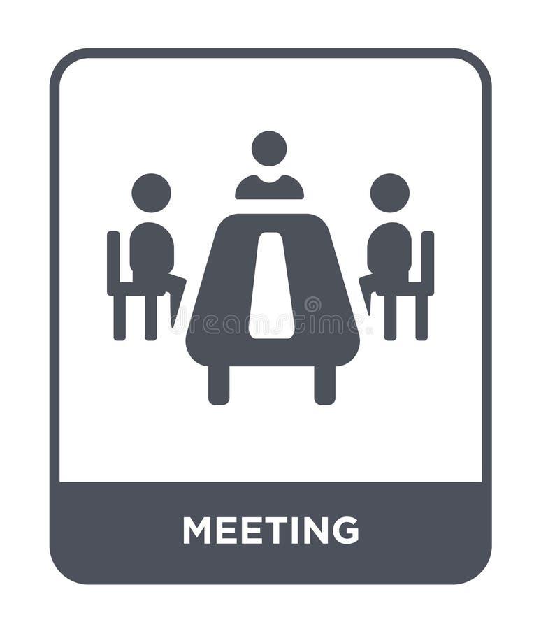 riunione dell'icona nello stile d'avanguardia di progettazione Icona di riunione isolata su fondo bianco incontrando simbolo pian illustrazione di stock