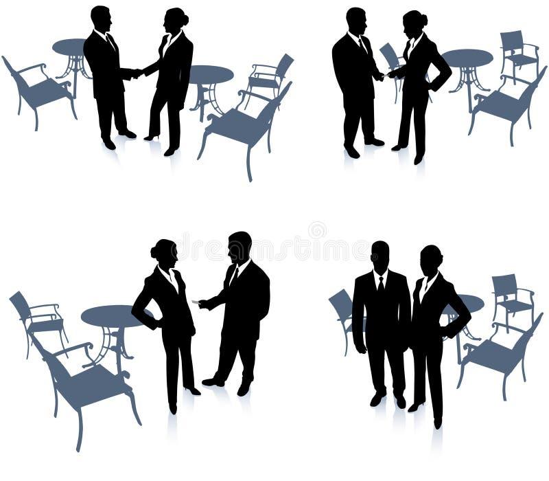 Riunione della donna di affari e dell'uomo d'affari illustrazione vettoriale
