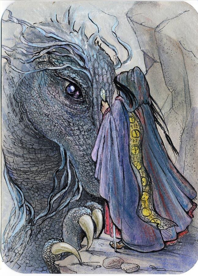 Riunione dello stregone e del drago illustrazione di stock