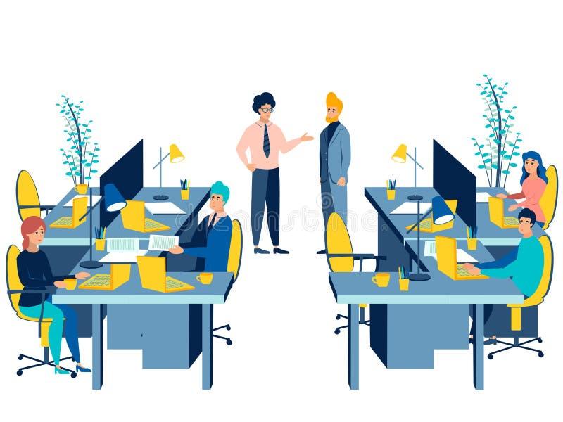Riunione di conferenza del lavoro di gruppo Conversazione di affari isolata su fondo bianco Stile piano Vettore del fumetto illustrazione vettoriale