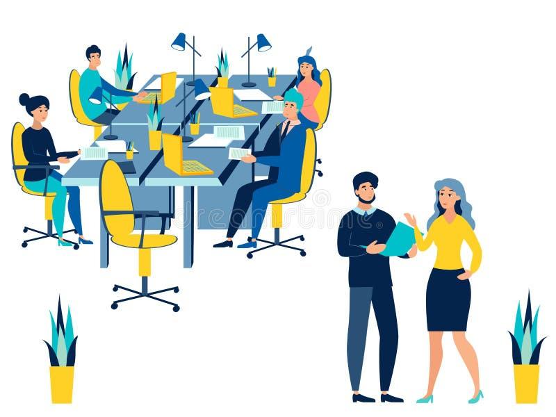 Riunione di conferenza del lavoro di gruppo Conversazione di affari isolata su fondo bianco Stile piano Vettore del fumetto royalty illustrazione gratis