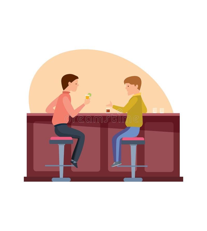 Riunione di giovane divertimento ed uomini sorridenti, amici felici che mangiano nella barra, seduta, parlare e cocktail bevente royalty illustrazione gratis