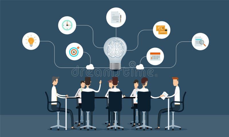 Riunione di lavoro di squadra di affari e concetto di lampo di genio illustrazione di stock