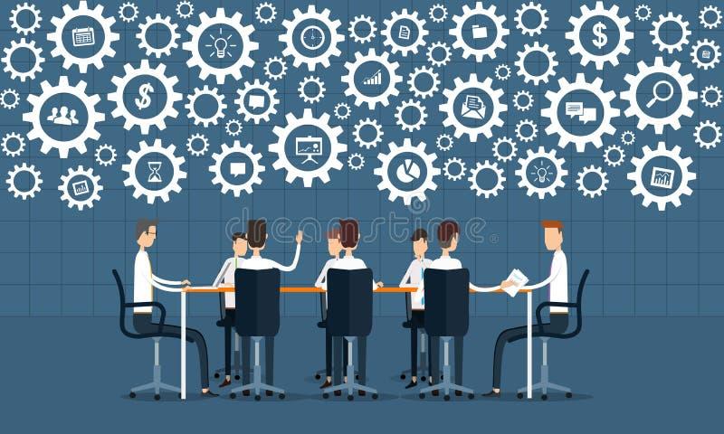 Riunione di lavoro di squadra di processo aziendale e concetto di lampo di genio illustrazione di stock