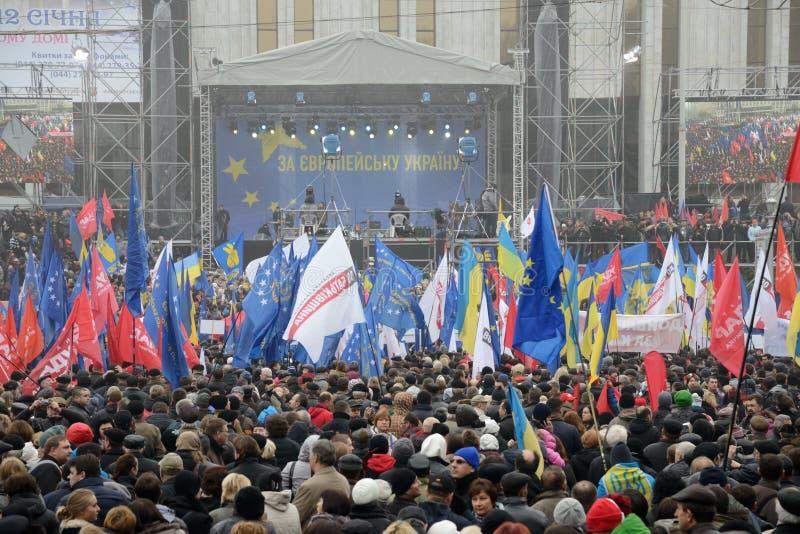 Riunione di massa per l'integrazione europea immagini stock libere da diritti