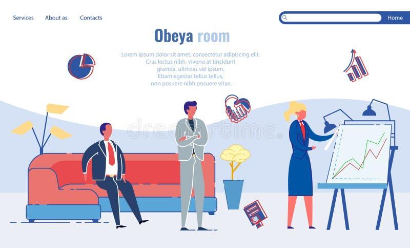 Riunione e pianificazione del lavoro del reparto Sala Obeya illustrazione vettoriale