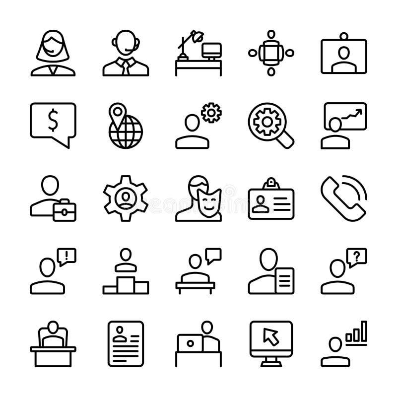 Riunione, linea insieme del posto di lavoro delle icone illustrazione di stock