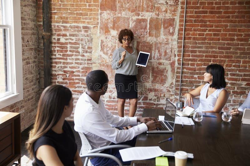 Riunione matura della sala del consiglio di Standing To Address della donna di affari immagini stock
