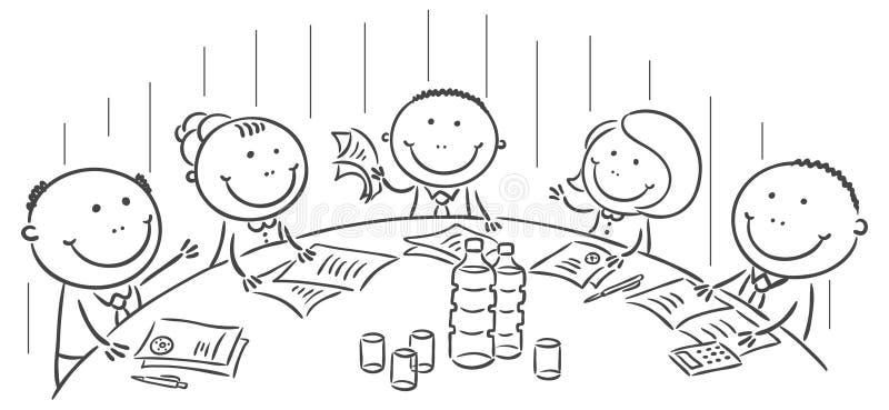 Riunione o conferenza intorno alla tavola illustrazione di stock