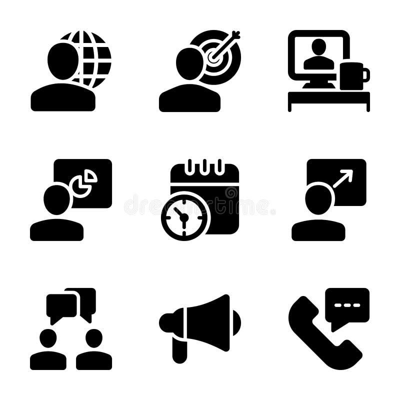Riunione, posto di lavoro, icone solide di comunicazione commerciale illustrazione vettoriale