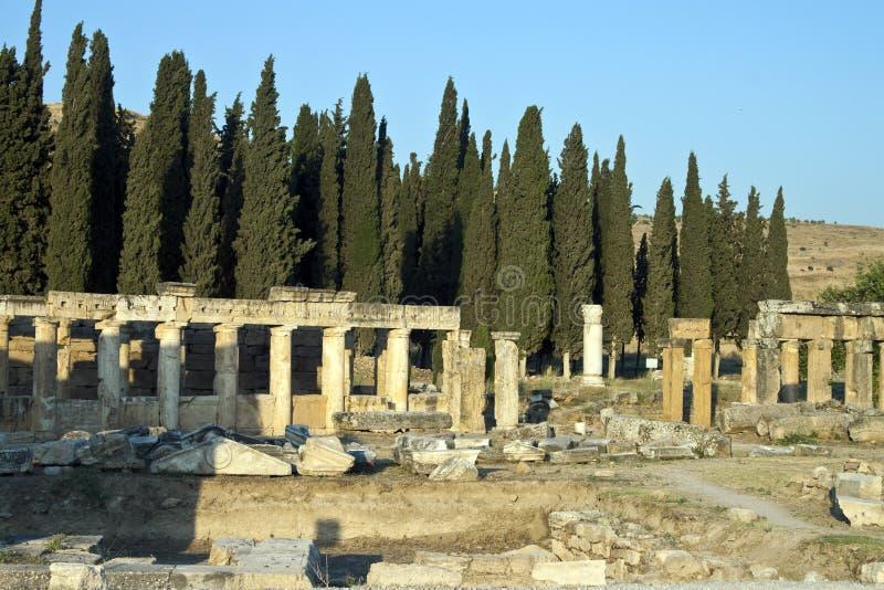 Riuns van oude stad Hierapolis royalty-vrije stock afbeelding