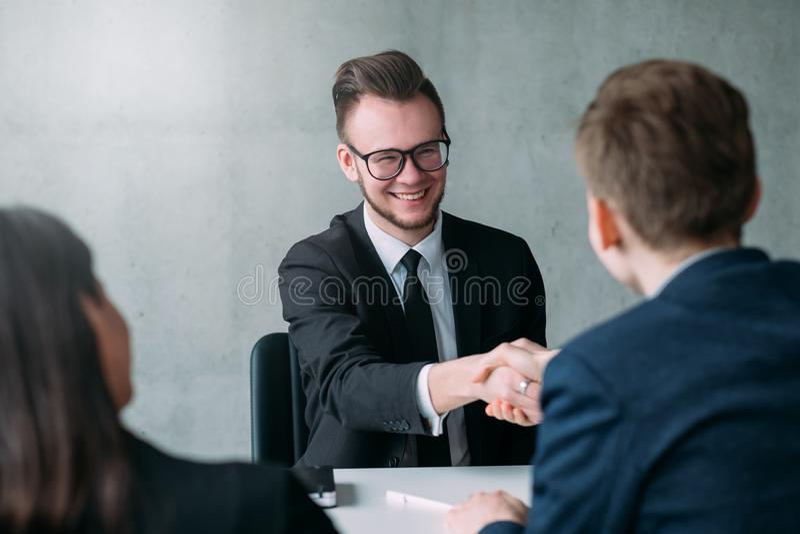 Riuscita carriera professionale di intervista di lavoro immagine stock