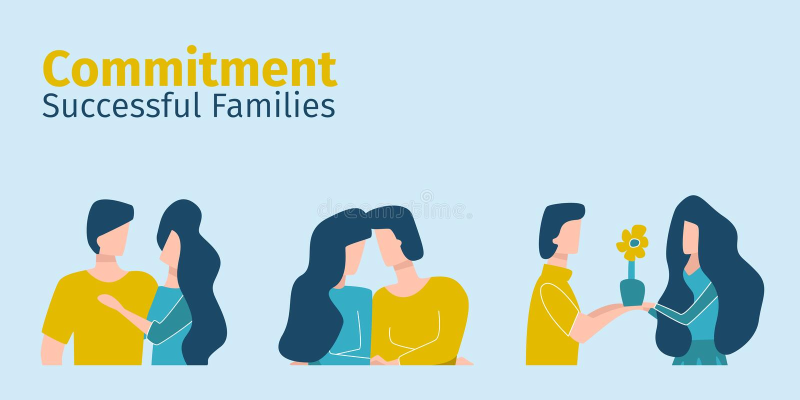 Riuscita devozione di manifestazione delle famiglie l'un l'altro illustrazione vettoriale
