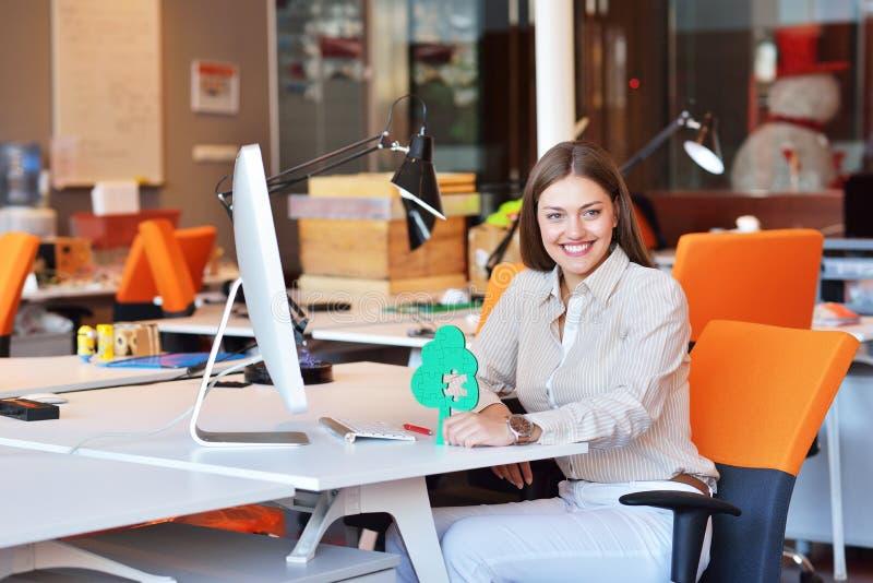 Riuscita donna di affari che lavora all'ufficio fotografia stock