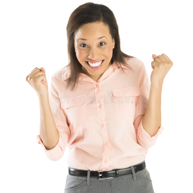 Riuscita donna di affari With Clenching Fist fotografie stock
