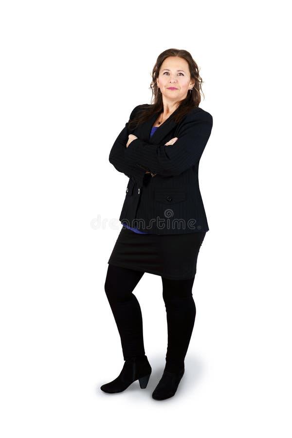 Riuscita donna di affari in pieno fotografia stock libera da diritti