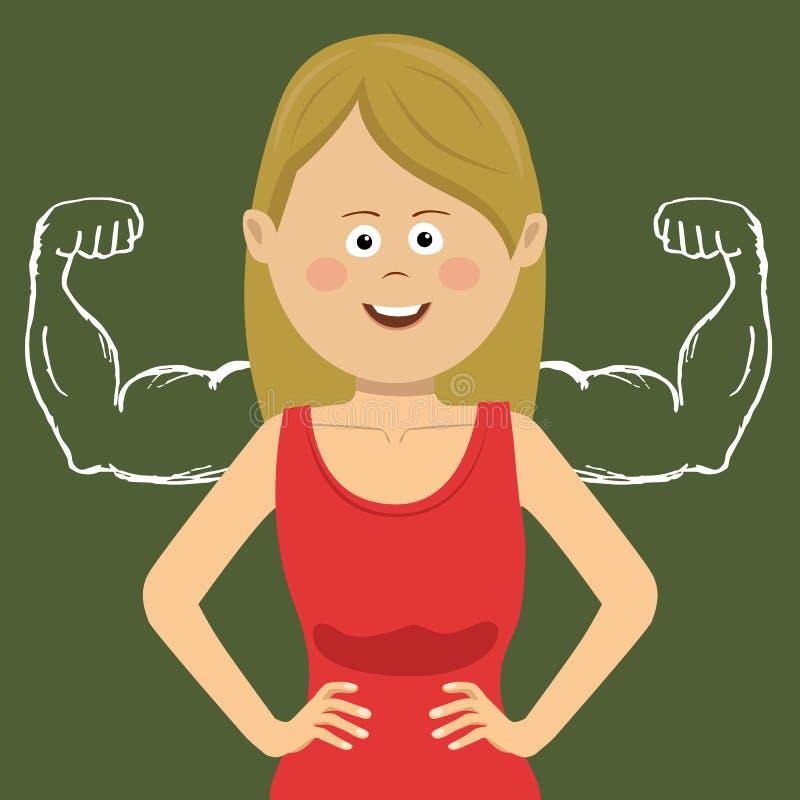 Riuscita donna di affari sicura di sé con i muscoli estratti con gesso sulla lavagna royalty illustrazione gratis