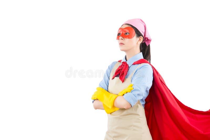 Riuscita donna eccellente dell'eroe di pulizia fotografia stock libera da diritti