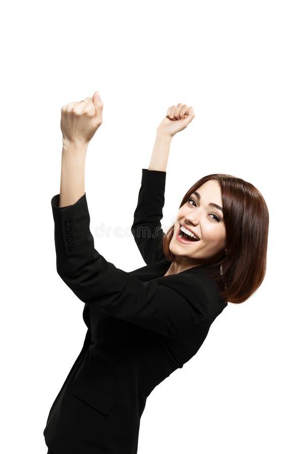 Riuscita giovane donna di affari felice per il suo successo immagine stock libera da diritti