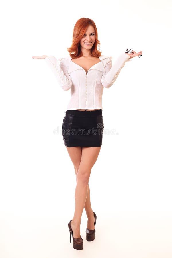 Riuscita giovane donna di affari felice per il suo successo Isolato fotografie stock libere da diritti