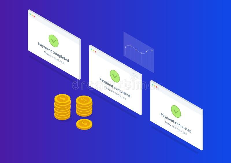 Riuscita illustrazione isometrica di pagamento con le monete ed il grafico di oro illustrazione di stock