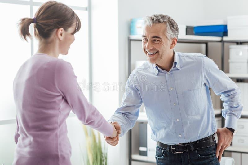 Riuscita intervista di job immagine stock