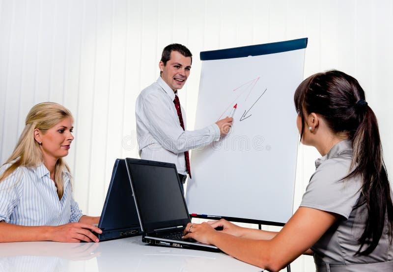Riuscita squadra ad una riunione nell'ufficio immagine stock libera da diritti