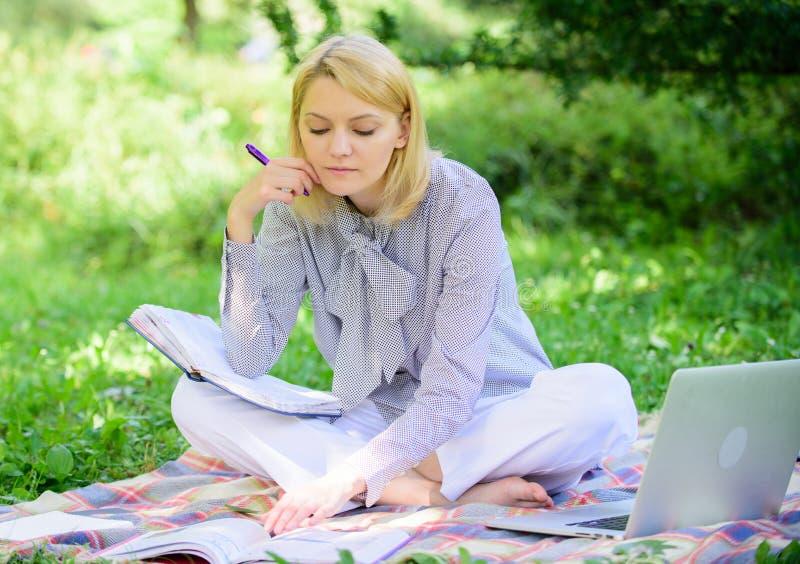 Riuscite free lance diventate La donna con il computer portatile si siede sul prato dell'erba della coperta La ragazza con il blo fotografia stock libera da diritti