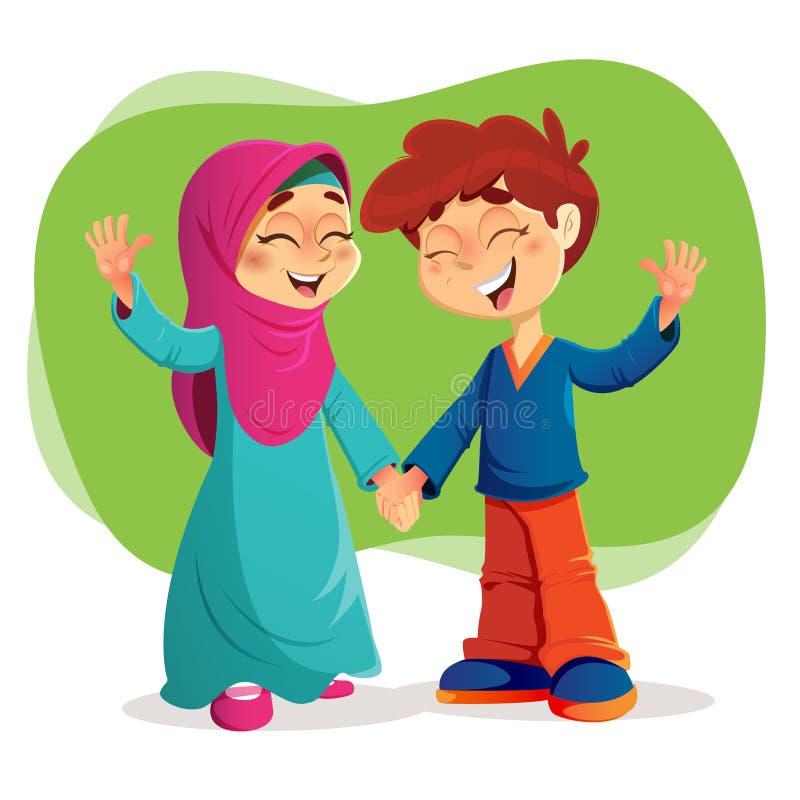Riusciti bambini musulmani che esprimono felicità royalty illustrazione gratis